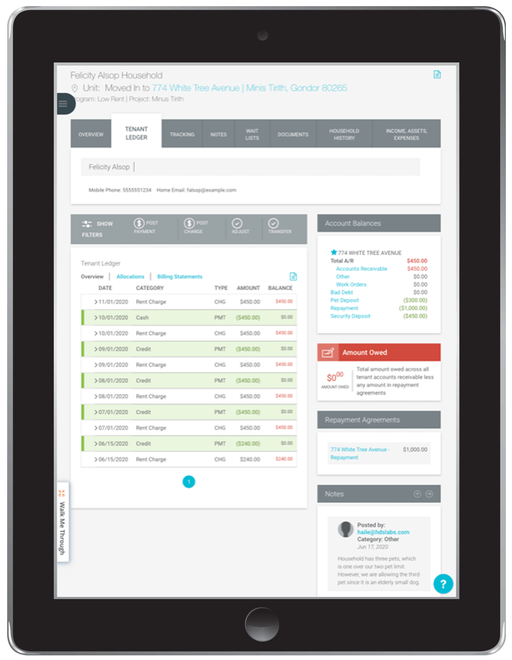 Doorways housing management software - work order on iPad